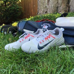 White orange and gray illusion golf shoes